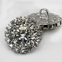 C-8187 -  Set of 6 Silver and Crystal Rhinestone Button 18mm