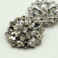 C-8189 -  Set of 4 Silver and Crystal Rhinestone Button 1 inch