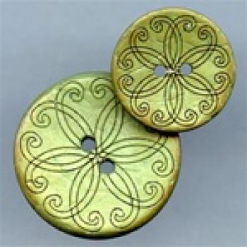 CO-512 Laser Design Coconut Button, 2 Sizes