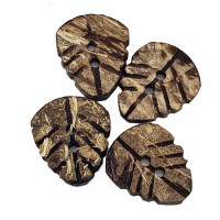"CO-520 - Carved Leaf Coconut Button, 7/8"" - Color #1"