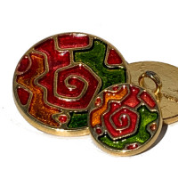 EM689-Gold with Green-Red-Orange Epoxy  - in 3 Sizes