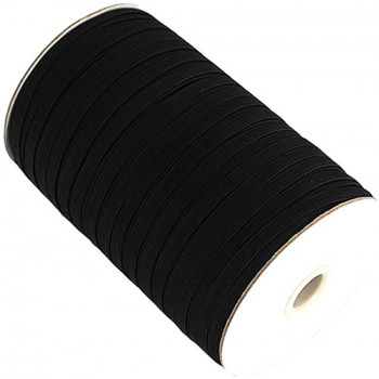 EL-1285 Black, 3/8 Inch Braided Elastic — Sold in lengths of 12 or 144 Yards