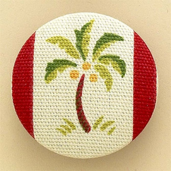 F-1085 Green Palm Tree-Red Trim