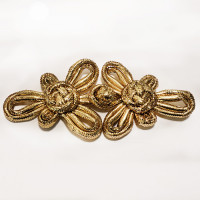 FR-0065G-Metallic Gold Braided Frog Hook and Eye Closure