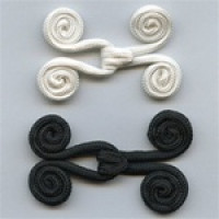 "FR-0066 - 2-1/4"" Braided Frog Hook and Eye Closure (Ivory only)"