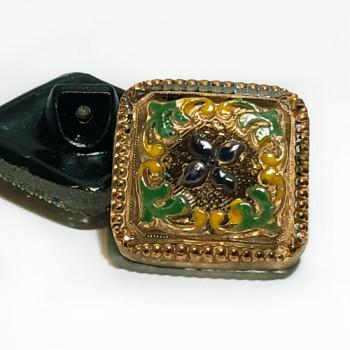 """G-1281-1 Vintage Multicolor Glass Button, 7/8"""""""