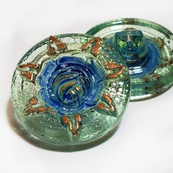 G-1357-2 Vintage Multicolor Glass Button, 2 Sizes