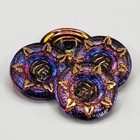 "G-1357-5 Vintage Iridescent Glass Button, 7/8"""
