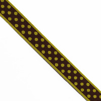 "G-16  col. 109 Jacquard Brown & Green Polka Dotted Ribbon - 3/4"" -by the yard"