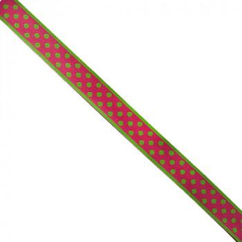 "G-16 Renaissance Ribbon Fuchsia & Green Dots Dotted Ribbon - 3/4"" -Sold by the yard"