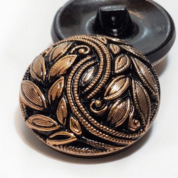 G-2059AG Antique Gold and Black Glass Button, 2 Sizes