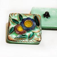 """G-4002-3 Vintage Multicolor Glass Button, 1-1/4"""""""