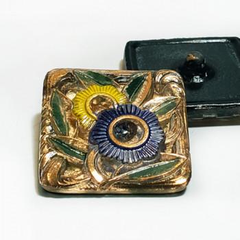 """G-4002-5 Vintage Multicolor Glass Button, 1-1/4"""""""