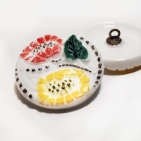 G-4006-8  Hand painted Flower Glass Button, 1-1/8""