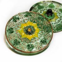 """G-4013-0 Vintage Multicolor Glass Button, 1-1/4"""""""