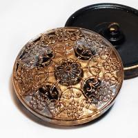 """G-4013-4 Vintage Multicolor Glass Button, 1-1/4"""""""