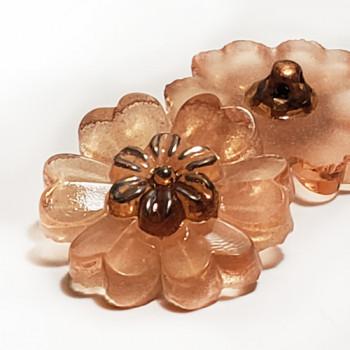 "G-4015-1   Vintage Peach Flower-Shaped Glass Button, 7/8"""
