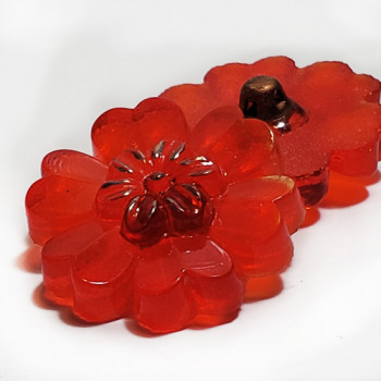 G-4015-2   Vintage Red Flower-Shaped Glass Button,  7/8""