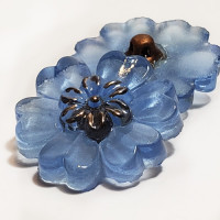 G-4015-3   Vintage Blue Flower Glass  7/8""