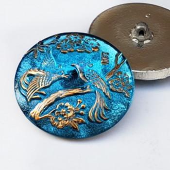 """G-4044-4 Iridescent Blue  Glass Button, 1-1/8"""""""