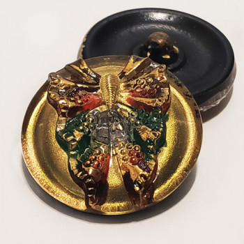 """G-4046-1 Vintage Glass Button with Butterfly, 7/8"""""""