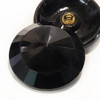 """G-5398 Jet Glass Button, 9/16"""""""