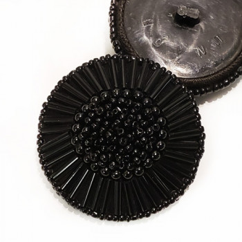 G-591 - Large Black Hand-Beaded Button