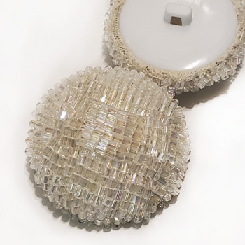 G-592 - Large White Iridescent Hand Beaded Button