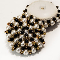 G-593 - Large Pearl, Gold, and Black Hand-Beaded Button