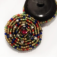 G-594 - Multi-Color Hand Beaded Button