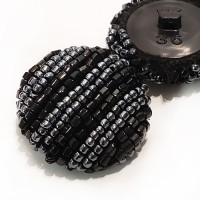 G-595 - Black and Gunmetal Hand Beaded Button
