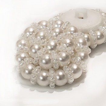 G-596 - Hand Beaded Button with White Pearls and Beads