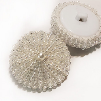 G-597 - Hand Beaded White Pearl Button