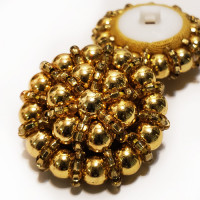 G-598 - Hand Beaded Gold Button