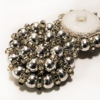G-599 - Hand-Beaded Silver Button