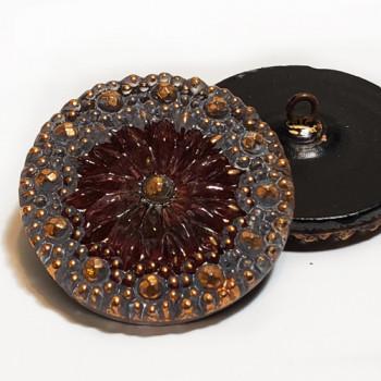 """G-86-0 Vintage Multicolor Glass Button, 1-1/8"""""""