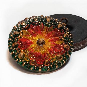 """G-86-3 Vintage Multicolor Glass Button, 1-1/8"""""""