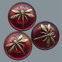 GL-1996 Glass Dragonfly Button