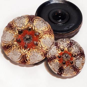 G-957-1 Multicolor Glass Button, 2 Sizes