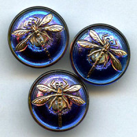 GL-1311 Glass Dragonfly Button