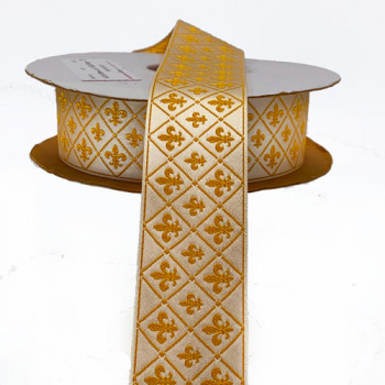 """HD-24  Col. 1 Gold and Off White Fleur De Lys Ribbon   Jacquard Ribbon 1-1/2"""""""