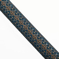 JM4-01 Gold, Blue, and Mustard Jacquard Ribbon - 1""