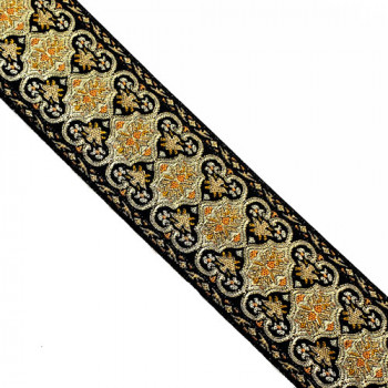 JM5-032 Gold, Black, and Tan Jacquard Ribbon - 2-5/8""