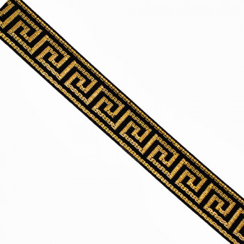 JM5030 Metallic Gold and Black, Greek Key  Jacquard  1/2""