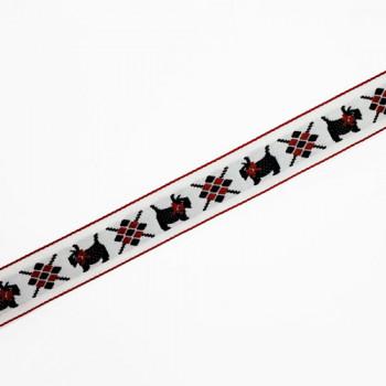 "L-3803 Black Scottie Ribbon  Jacquard Ribbon - 3/4"" Sold Per Yard"