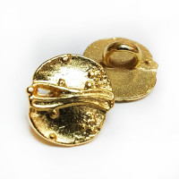 M-074-D Gold Metal Fashion Button, Priced per Dozen