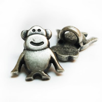 M-1319  Antique Silver Monkey Button