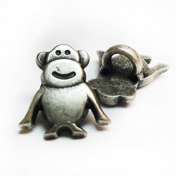 M-1319  Antique Silver Monkey Button