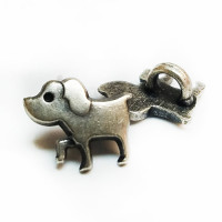 M-1320  Antique Silver Dog Button