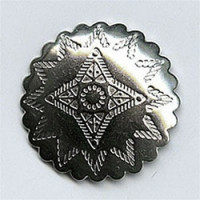 M-1606A -Concho Style Metal Button, Antique Silver Finish
